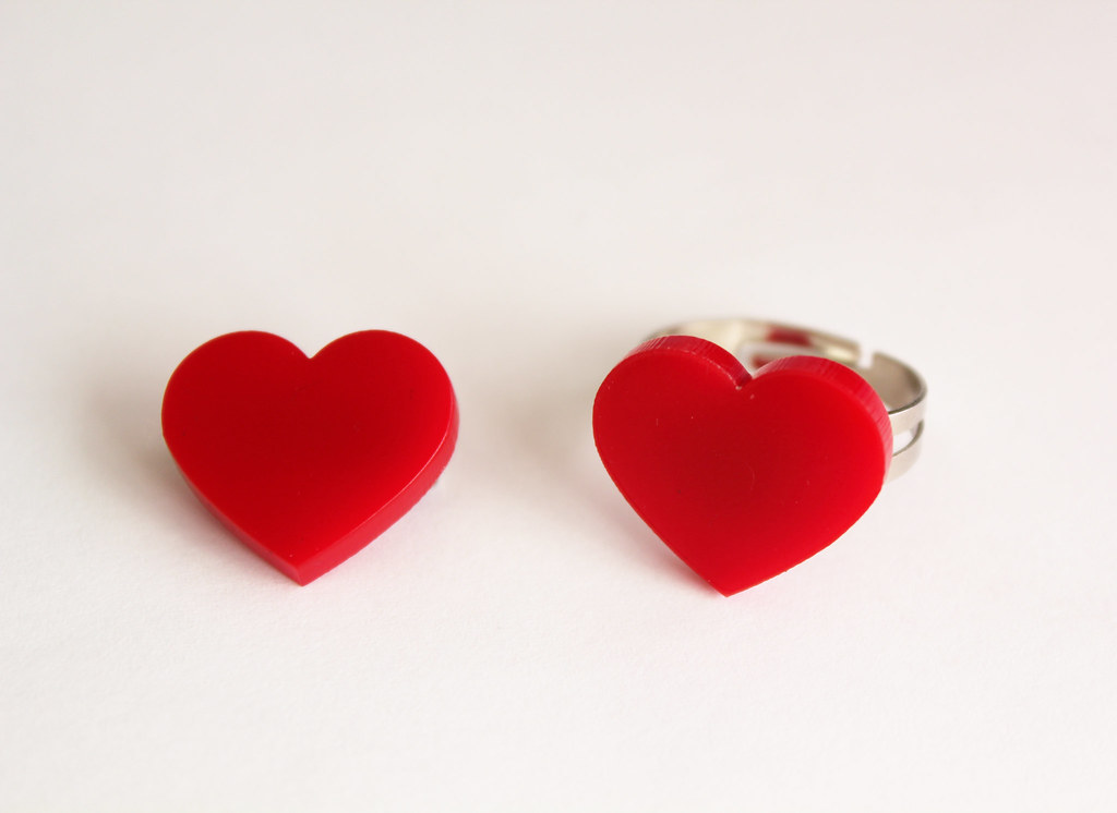 Heart brooch and ring