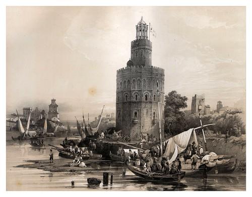 017-Torre del Oro en Sevilla-España artística y monumental..Tomo II- 1842-1850-Genaro Perez de Villa-Amil