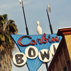 Corbin Bowl ~ Day (CPMcGann) Tags: california sunlight sunshine sign square interesting nikon bluesky signage neonsign tarzana corbinbowl