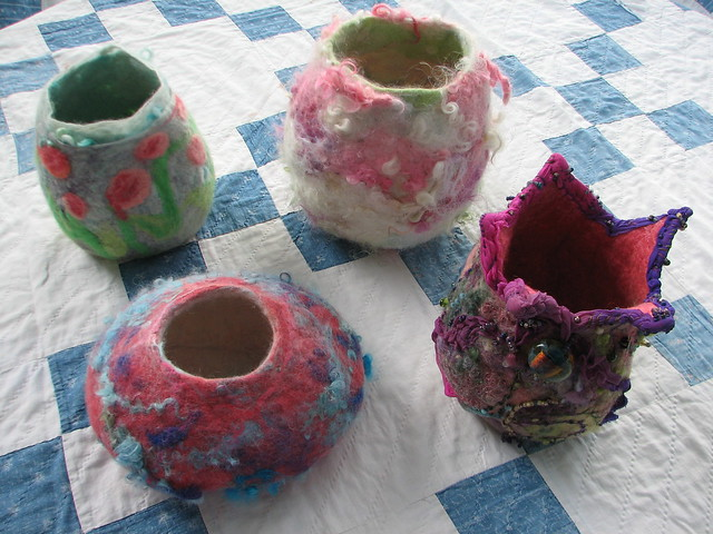 wool vessels wet felted