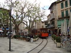 Tram in square (Concorps) Tags: old railroad travel vacation mountain architecture buildings landscapes spain scenery track sony transport scenic eisenbahn rail railway trains historic spanish  bahn mallorca palma  spoor spoorwegen soller      serradetramuntana      bunyola  ferrocarrildesller   dscw220