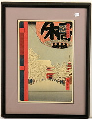 173. Japanese Woodblock with Lantern & Snow