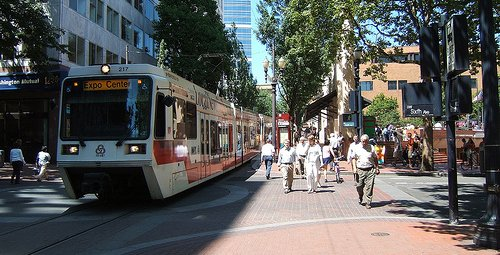 highly walkable and transit-accessible in downtown Portland (courtesy of Reconnecting America)