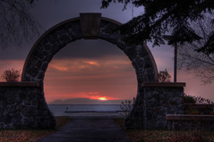 Giant through the Gate (KarenR-TB) Tags: ontario stone marina sunrise gate lakesuperior thunderbay sleepinggiant