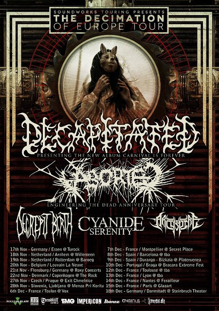 Decapitated Aborted UK tour 2012 metal gigs gig listings
