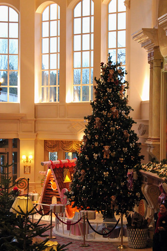 Christmas tree seen from the stairs