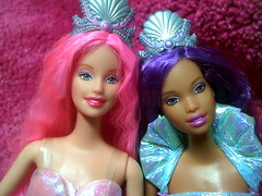 mermaid fantasy barbie & christie! Please comment! (danipanda69) Tags: ocean california pink blue beach water mississippi hawaii washington dolls texas barbie seashell summertime pinkhair beachball bratz fantasyart barbiedolls vintagebarbie ebayfinds mermaidbarbie mermaidfantasybarbiepink