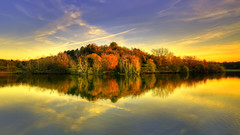 reflection (AO-photos) Tags: park autumn sunset lake reflection nature automne mirror nikon lac reflet hdr d300s