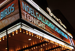 Day 73 (DerickCarss) Tags: show city nyc usa ny newyork birds sign america outside lights flying high concert neon exterior theatre manhattan unitedstatesofamerica gig noel illuminated oasis gallagher tonight beacon gallaghers nghfb