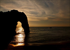 Sunset Arch (jo92photos) Tags: uk sunset sea england cliff water reflections rocks photographers dorset tripods lulworth togs clifftop durdledoor allrightsreserved myfuji jo92photos gettyimagesartistpicks