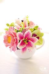 joyce14 (dkdesigns) Tags: rose ranunculus peony poppy stargazerlily plumblossom lisianthus cymbidiumorchid phaleanopsisorchid decoclay claycraftbydeco dkdesignsanddecoclayflowers teapotsandflowers