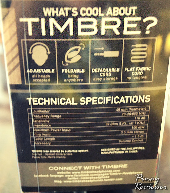 Specifications of these Timbre headphones