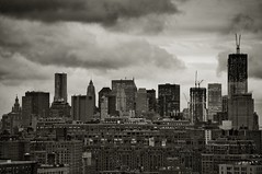 looking toward lower (bytegirl24) Tags: nyc sky bw ny skyline clouds buildings chelsea skyscrapers manhattan worldtradecenter soho constructioncranes lower londonterrace