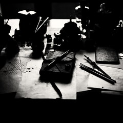 writing desk - sheets of paper, nibs and ink (Tunguska RdM) Tags: light shadow white black film zeiss ink writing paper desk hasselblad homemade medium format nib ilford develop analogic mygearandme mygearandmepremium