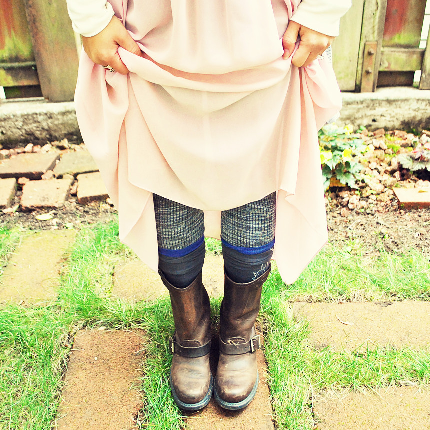 Outfit - Fall - Boho - Pale Pink, Light Gray - Sheer Maxi Skirt - Frye Boots - Sweater Leggings - Knee Socks