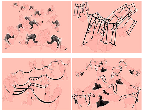 four sets of digital drawings, showing pink figures on a pink background with black details
