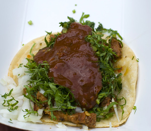 El Rey  Del Sabor - spicy pork taco with onions and cilantro