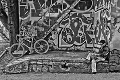 Graffiti Alley Toronto Black and White (tiltedplane) Tags: blackandwhite toronto graffiti october mural highcontrast graffitialley 2011
