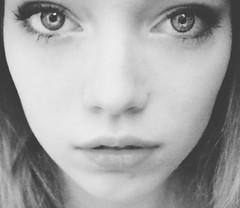 Elsa (Elszza) Tags: portrait blackandwhite selfportrait girl face self hair bigeyes blonde blondehair elsa owner