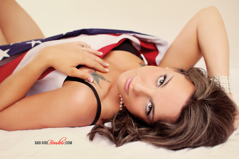American Flag Pinup Girl Boudoir // Patriotic Boudoir Photography