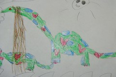 dinosaur with hearts and blue polka dots