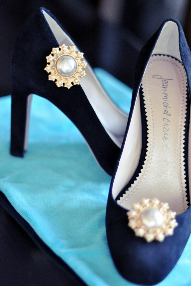 vintage earrings as shoe embellishments