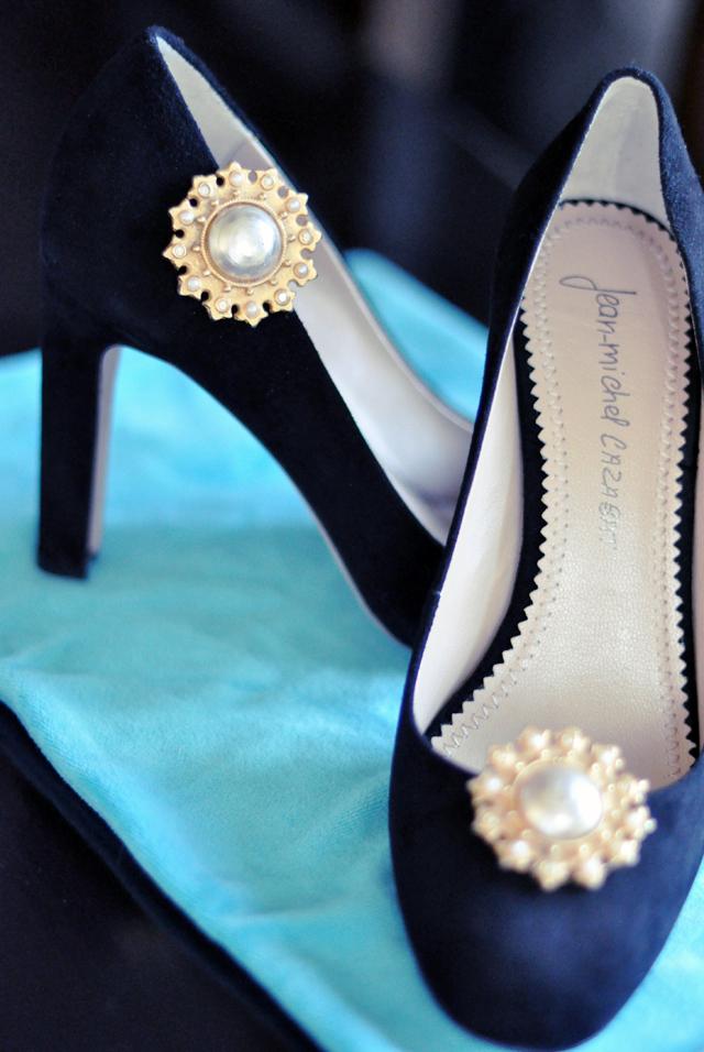 vintage earrings as shoe embellishments