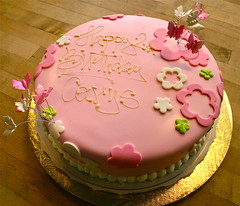 Pretty Pink Flower & Butterfly Cake