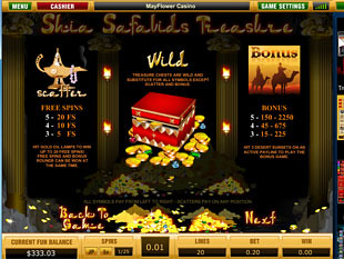 free Shia Safavids Treasure slot game paytable