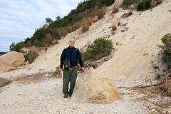 Glenn and Glacial Erratic (sandy richard) Tags: usa newyork unitedstates geology wildwood wadingriver wildwoodstatepark sandyrichard longislandgeology sandrarichard