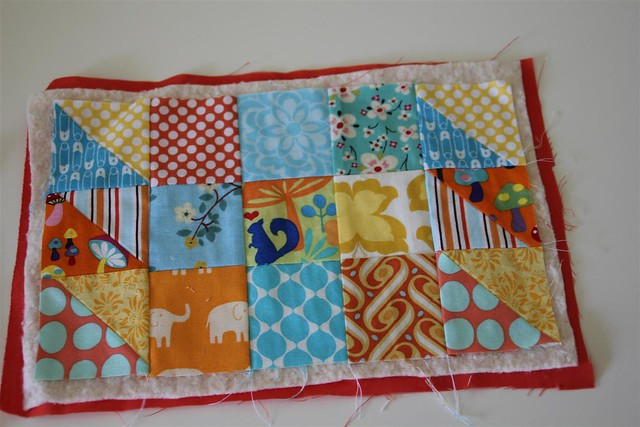 Mug rug made during my piecing demo in Quilt class 101 last night