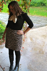 Outfit - leopard pencil skit, crocheted turbin scarf