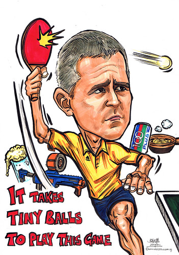 Table tennis player caricature for Electronic Arts Asia Pacific Pte Ltd