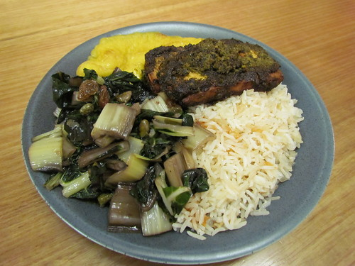 Chimichurri Baked Tofu; Brazilian-Style White Rice; Swiss Chard with Raisins and Capers; Roasted Plantains