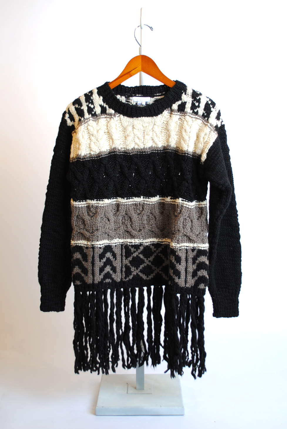 Patterned Fringe-Hem Sweater