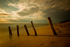 Ifaty beach (Gareth Codd Photography) Tags: ocean wood longexposure shadow sea sky beach landscape sand dusk poles madagascar ifaty 10stop