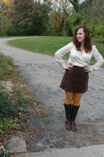 fall fashion - vintage suede mini skirt, silk wrap blouse, mustard tights, leather boots