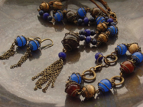 Gothic blue jewellery set