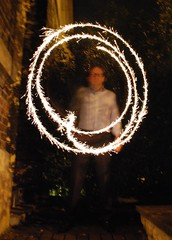 Diwali sparklers, John draws a circle (adambangor) Tags: party england festival fireworks lakshmi sparklers lighttrails diwali festivaloflights newcastleupontyne tynewear tyneandwear fenham goddessofwealth