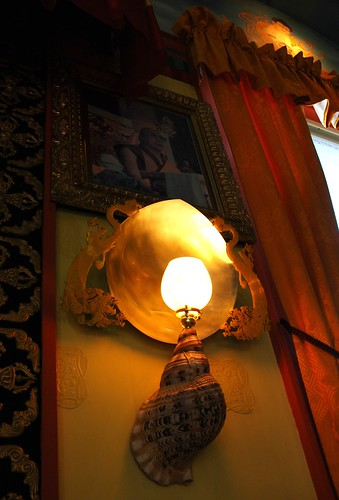 Dragon shell lamp detail with portrait of His Holiness the Dalai Lama, Sakya Monastery of Tibetan Buddhism, Seattle, Washington, USA by Wonderlane