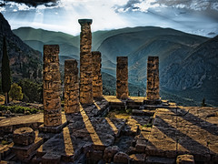 Temple of Apollo, Delphi (Ian@NZFlickr) Tags: morning light temple oracle bravo delphi greece apollo topaz fractaliusbutonlyawhisper
