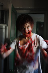 8/31 And Eight Days Later (Katie Imogen) Tags: red man motion green blood zombie rip attack run gore grab worldzombieday october8th2011