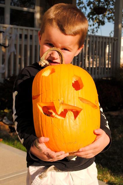 Bennett and his 'special' pumpkin