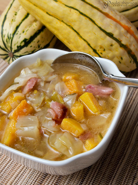 Ham Cabbage and Squash Soup