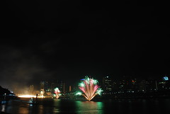 River Firework (J.D Chen ) Tags: trip travel vacation holiday festival river nikon tour au working australia firework brisbane qld queensland   backpackers bne whv d80 brisbanefestival   workingholidayvisa  riverfirework