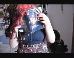 After dark (Electricoomassie) Tags: red portrait girl self dark hair book after murakami haruki sefie nothinginme