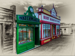HDR Old Shops (Dan @ DG Images) Tags: new old white black color colour dan sepia pencil photoshop vintage boot web border central style zealand filter nz 1900 otago nik maker effect selective watchmaker manufacturer goodwin naseby fz35 pommedan