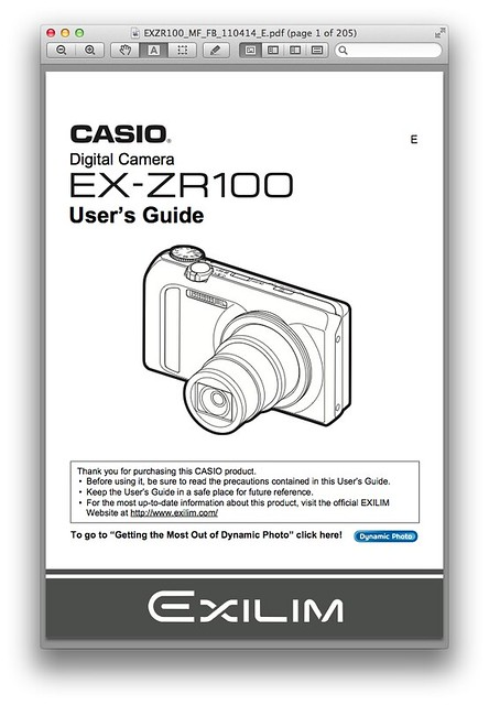 Casio ZR100 Manual