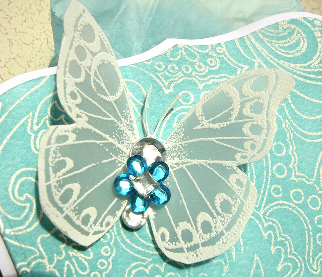 Blinged Up Butterfly Gift Box - close up