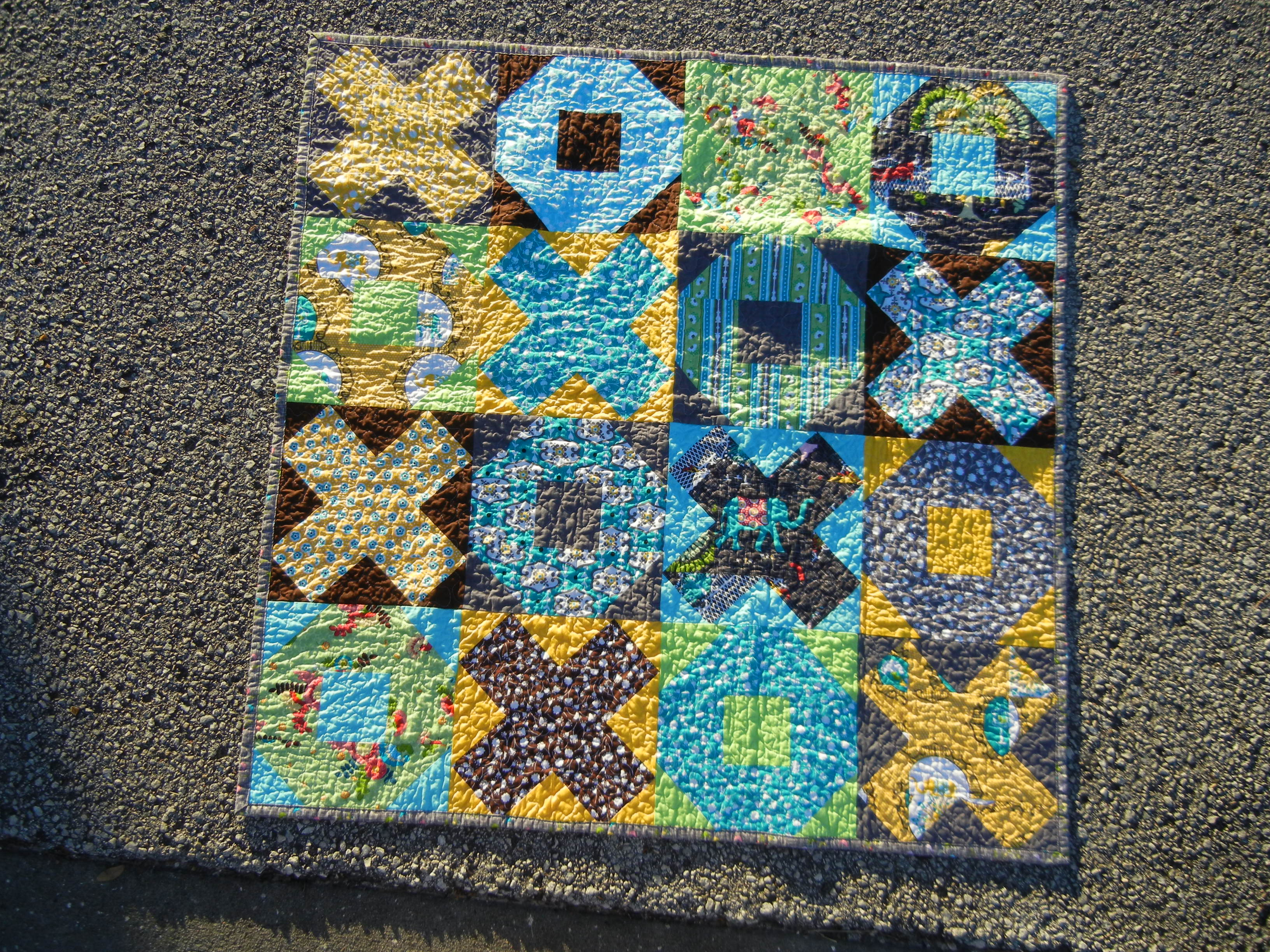 A finished quilt in the street!